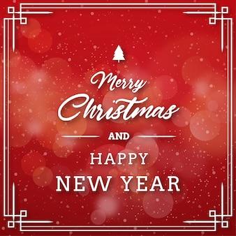 Wesołych świąt bożego narodzenia tło z świateł bokeh