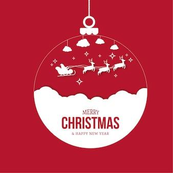 Wesołych świąt bożego narodzenia tło z sylwetką christmas ball