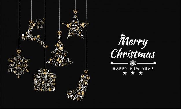 Wesołych świąt bożego narodzenia tło z transparentem kolekcji elementów