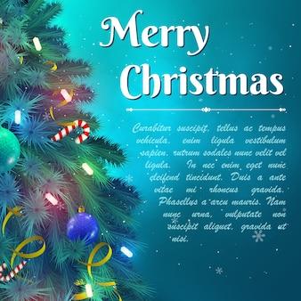 Wesołych świąt bożego narodzenia tło z zdobionymi gałęziami jodły i płaską ilustracją wektorową pola tekstowego