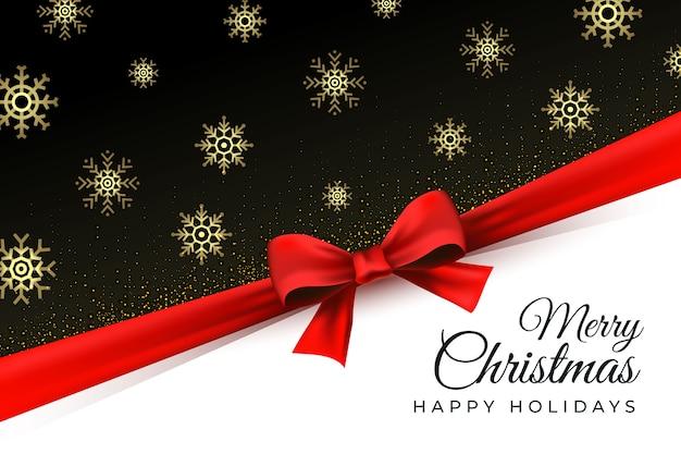 Wesołych świąt bożego narodzenia tło z złote płatki śniegu