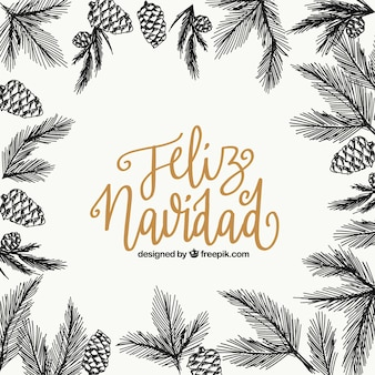 Wesołych świąt bożego narodzenia tło ze szkicami liści i ananasy