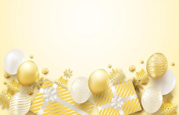 Wesołych świąt bożego narodzenia tło ze złotą dekoracją