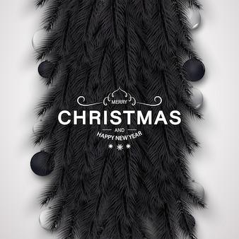 Wesołych świąt bożego narodzenia tło ze złotą i czarną dekoracją
