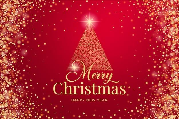 Wesołych świąt bożego narodzenia tło ze złotym brokatem i błyszczy