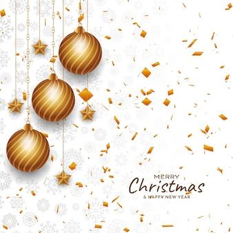 Wesołych świąt bożego narodzenia tło złote konfetti