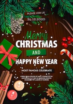 Wesołych świąt bożego narodzenia transparent, plakat xmas party