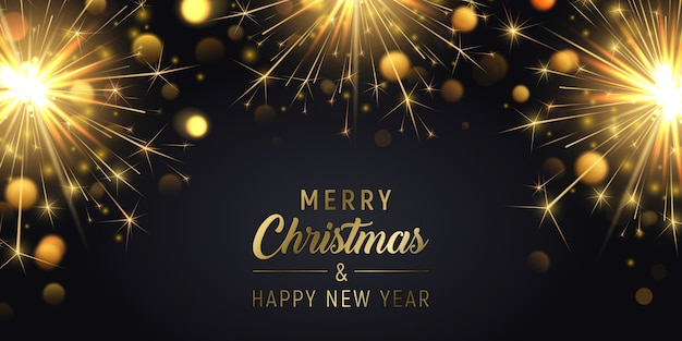 Wesołych świąt bożego narodzenia transparent tło z sparklers