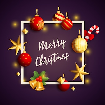 Wesołych świąt bożego narodzenia transparent w ramce z wystrojem na fioletowym podłożu