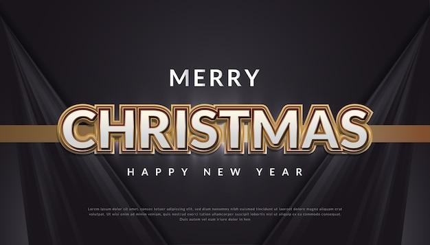 Wesołych świąt bożego narodzenia transparent z 3d luksusowy złoty i biały tekst na czarnym tle