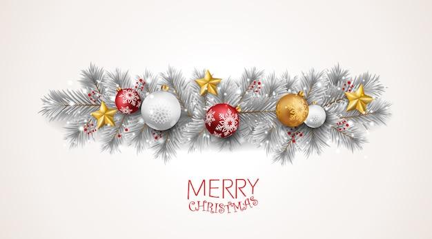 Wesołych świąt bożego narodzenia transparent z czerwonymi i złotymi kulkami i konfetti