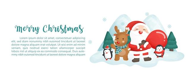 Wesołych świąt bożego narodzenia transparent z mikołajem i przyjaciółmi.