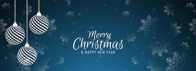 Wesołych świąt bożego narodzenia transparent z płatki śniegu