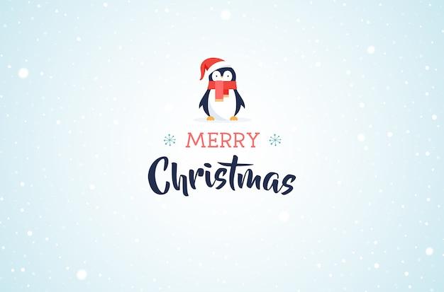 Wesołych świąt bożego narodzenia transparent z uroczym pingwinem