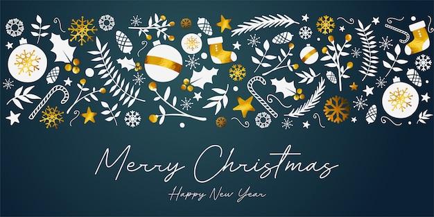 Wesołych świąt bożego narodzenia transparent złoty ornament card na ciemnym tle turkusowy
