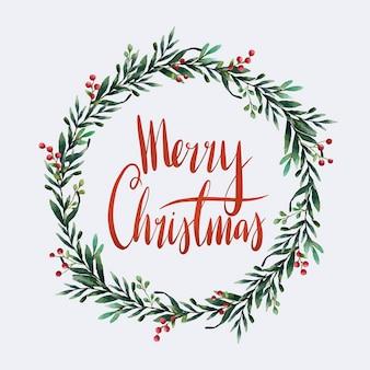 Wesołych świąt bożego narodzenia typografia akwarela