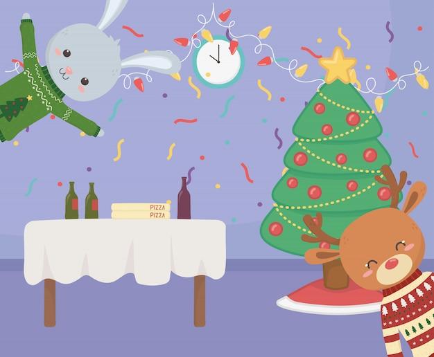 Wesołych świąt bożego narodzenia uroczystości wesoły królik renifery stół jedzenie drzewo konfetti