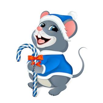 Wesołych świąt bożego narodzenia. wesoła myszka w niebieskim stroju świętego mikołaja.