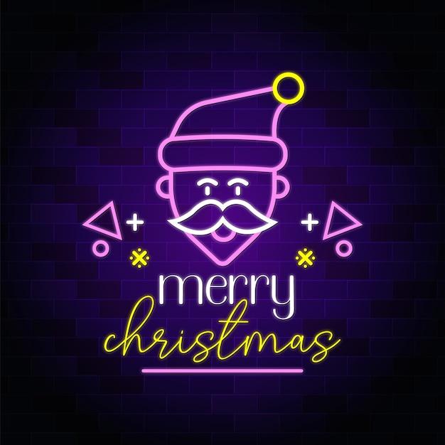 Wesołych świąt bożego narodzenia westchnienie neonowe ze świętym mikołajem