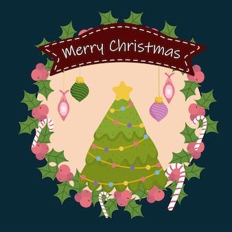 Wesołych świąt bożego narodzenia wieniec bombki cukierki wstążka i ostrokrzew