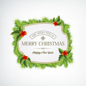 Wesołych świąt bożego narodzenia wieniec iglasty ozdobiony jemiołą na białej płaskiej ilustracji