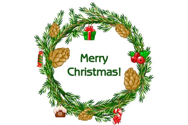 Wesołych świąt bożego narodzenia wieniec kreskówka, świerk z bigwigs i świąteczne zabawki