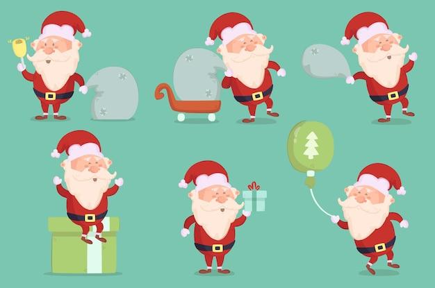 Wesołych świąt bożego narodzenia winter day with santa set
