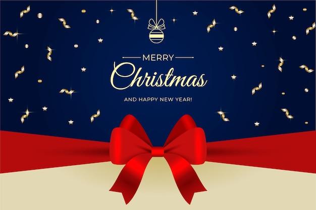 Wesołych świąt bożego narodzenia wstążka elegancki tło