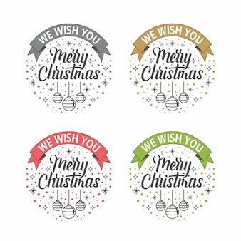 Wesołych świąt bożego narodzenia wstążki powitanie czysty