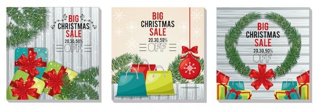 Wesołych świąt bożego narodzenia wyprzedaż pakiet kart