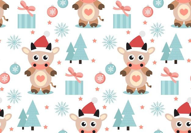 Wesołych świąt bożego narodzenia wzór. ładny byk w kapeluszu świętego mikołaja, niekończące się płatki śniegu tekstura tło. ilustracji wektorowych.