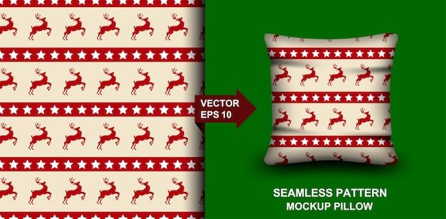 Wesołych świąt bożego narodzenia wzór. projekt jelenia na poduszkę, nadruk, modę, odzież.