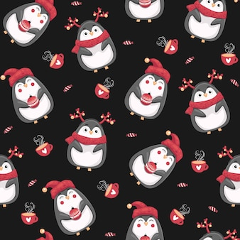 Wesołych świąt bożego narodzenia wzór z pingwinami