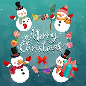 Wesołych świąt bożego narodzenia z bałwana.