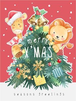 Wesołych świąt bożego narodzenia z choinką i kreskówkową ilustracją zwierząt