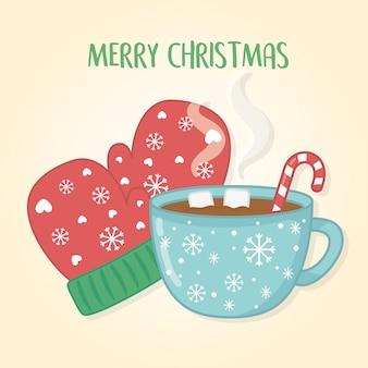 Wesołych świąt bożego narodzenia z filiżanki czekolady i rękawiczki