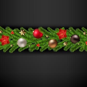 Wesołych świąt bożego narodzenia z girlandą bożego narodzenia