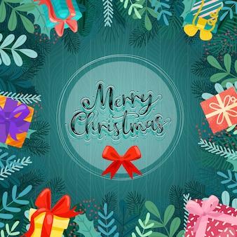 Wesołych świąt bożego narodzenia z kolorowymi pudełeczkami ozdobionymi kółkami