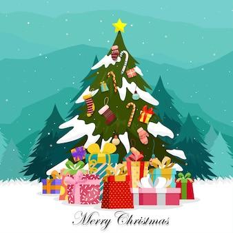 Wesołych świąt bożego narodzenia z kolorowymi pudełeczkami zdobionymi na choince.