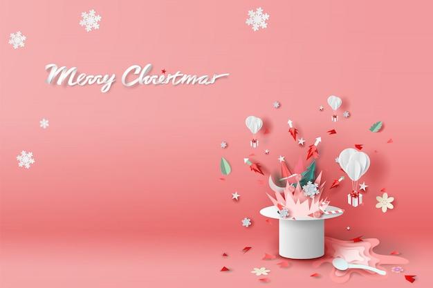 Wesołych świąt bożego narodzenia z ogniska i fajerwerków w kapeluszu