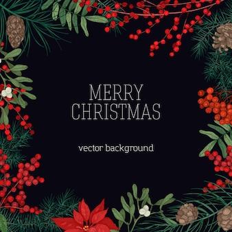 Wesołych świąt bożego narodzenia z ramą z gałęzi i szyszek drzew iglastych