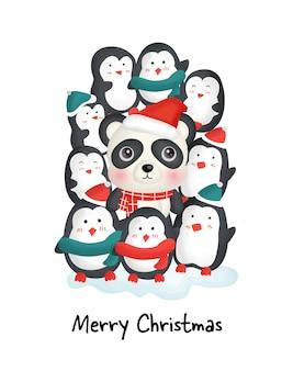 Wesołych świąt bożego narodzenia z słodkie pingwiny i panda na kartkę z życzeniami.