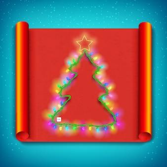 Wesołych świąt bożego narodzenia zakrzywiony papierowy szablon z lekką girlandą w kształcie drzewa