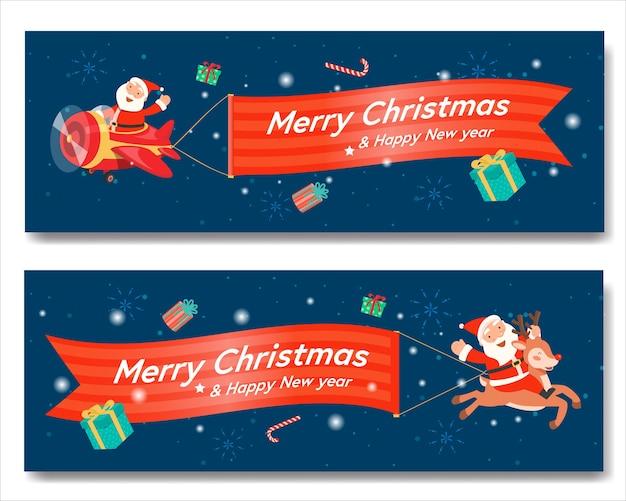 Wesołych świąt bożego narodzenia ze sztandarem świętego mikołaja i mikołajem na reniferze.
