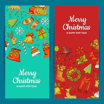 Wesołych świąt bożego narodzenia zestaw bannerów