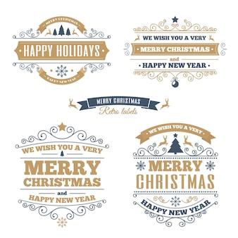 Wesołych świąt bożego narodzenia zestaw etykiet vintage złoty kolor.
