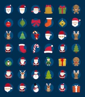 Wesołych świąt bożego narodzenia zestaw etykiet