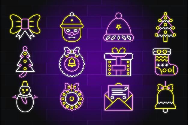 Wesołych świąt bożego narodzenia zestaw ikon neon premium