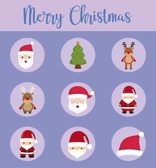 Wesołych świąt bożego narodzenia zestaw ikon