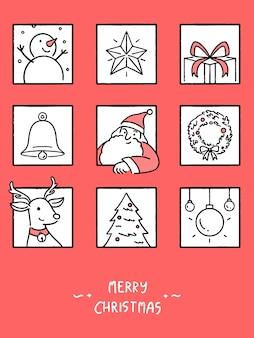 Wesołych świąt bożego narodzenia zestaw kart okolicznościowych, koncepcja wakacje, ilustracja styl ręcznie rysowane linii.